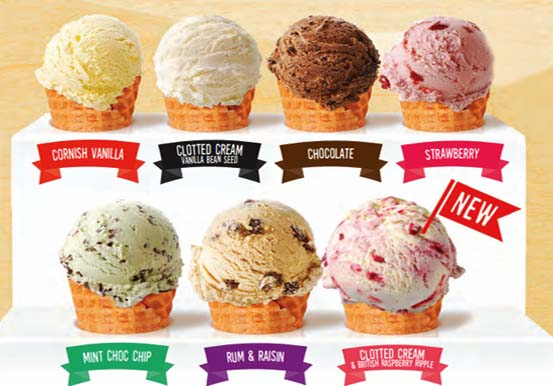 Classic ice cream flavours -vanilla, chocolate, strawberry