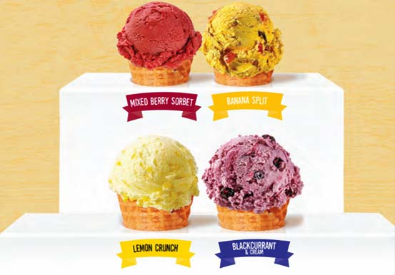 Fresh & fruity sorbet & ice cream flavours