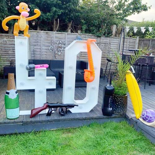 Party decorations, light up numbers & letters